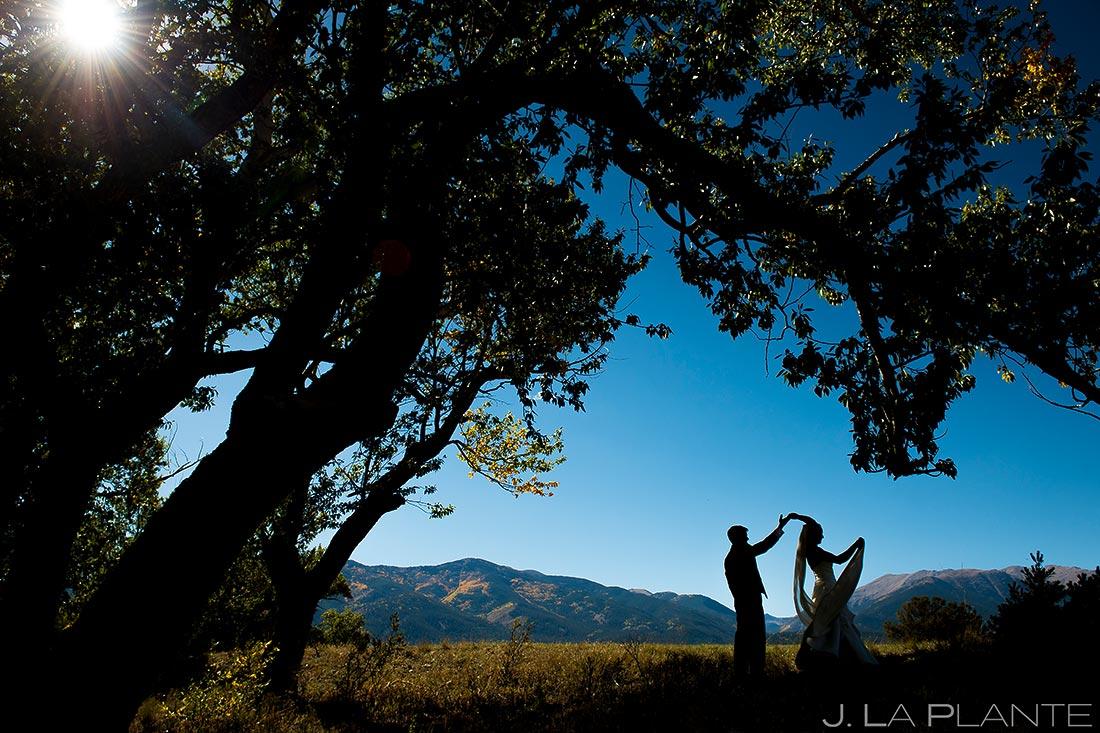 Bride and Groom Silhouette | Rustic Mountain Wedding | Colorado Wedding Photographer | J. La Plante Photo
