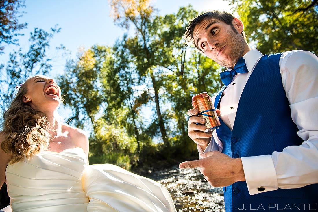 Groom Drinking Beer in River | Rustic Mountain Wedding | Colorado Wedding Photographer | J. La Plante Photo