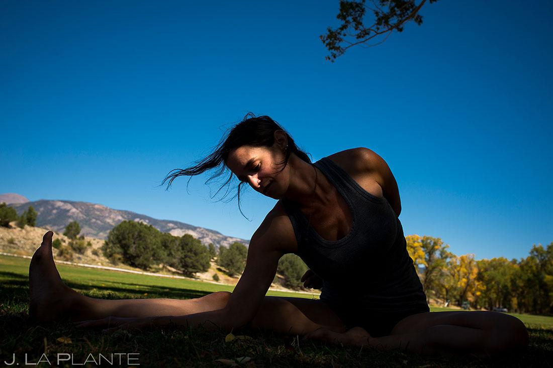 Wedding Guests Doing Yoga | Rustic Mountain Wedding | Colorado Wedding Photographer | J. La Plante Photo