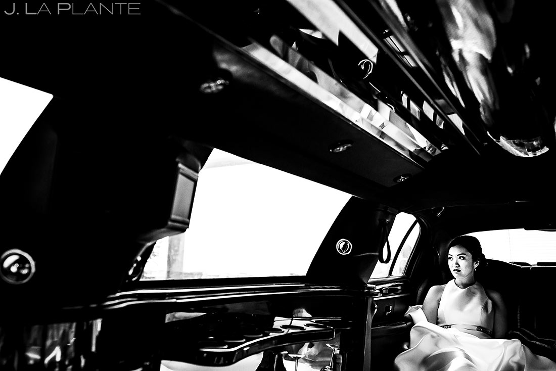 Bride Riding in Limo | Providence Wedding | Destination Wedding Photographer | J. La Plante Photo
