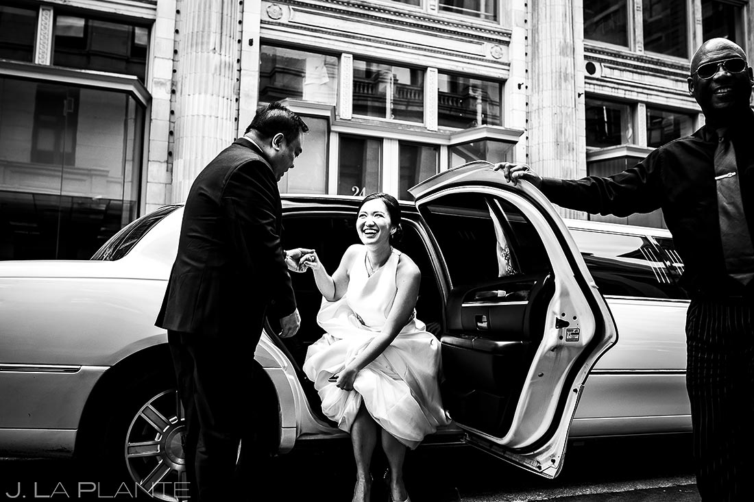 Bride Getting out of Limo | Rhode Island Wedding | Destination Wedding Photographer | J. La Plante Photo
