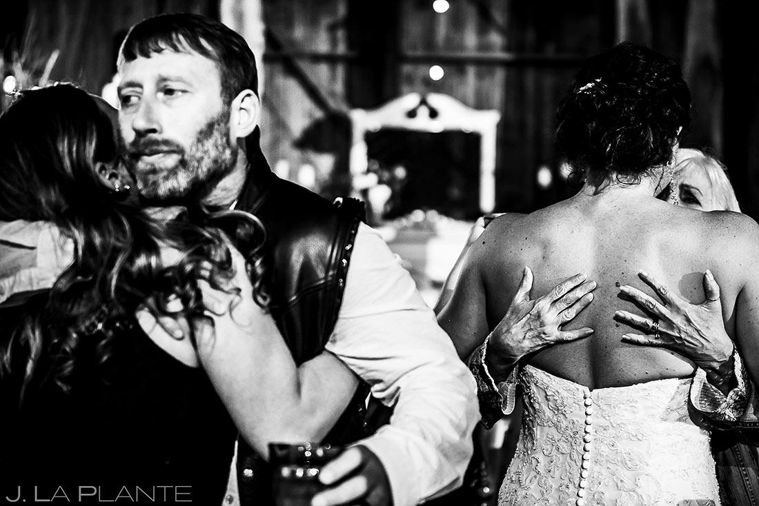 Bride and Groom Hugging Guests | Barnstar Wedding | Bellingham Washington Wedding | Destination Wedding Photographer | J. La Plante Photo