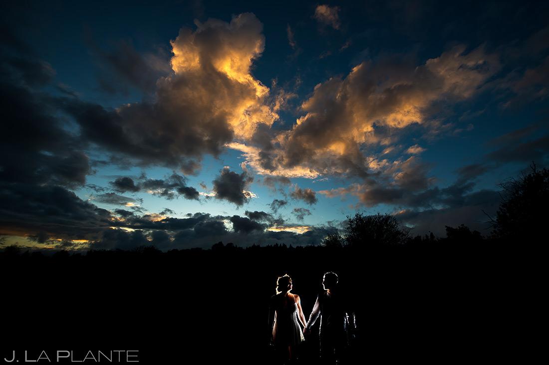 Bride and Groom Sunset Photo | Barnstar Wedding | Bellingham Washington Wedding | Destination Wedding Photographer | J. La Plante Photo