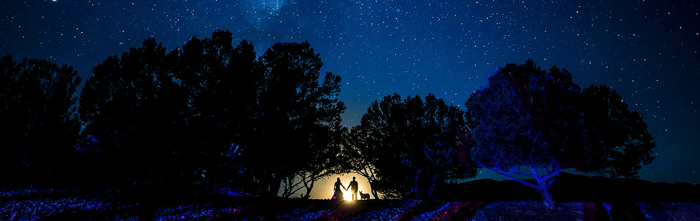 Bride and Groom with Dog Under the Stars | Buena Vista Wedding | Rustic Mountain Wedding | Colorado Wedding Photographer | J. La Plante Photo