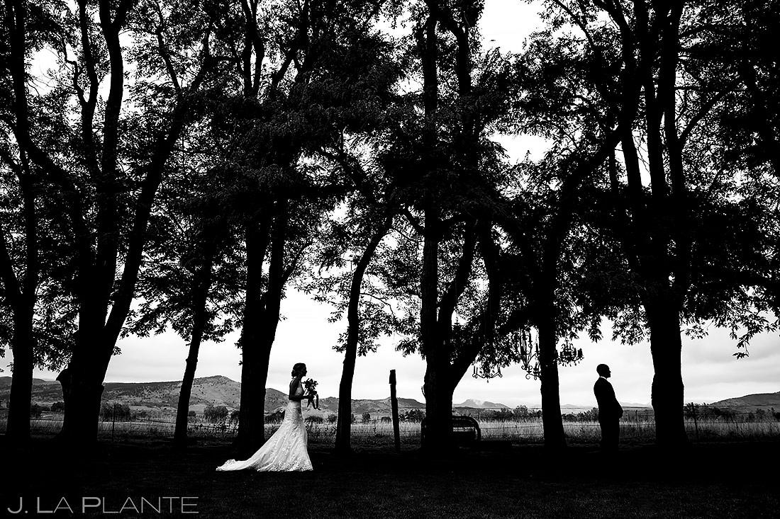 Bride and Groom First Look   Shupe Homestead Wedding   Boulder Wedding Photographer   J. La Plante Photo