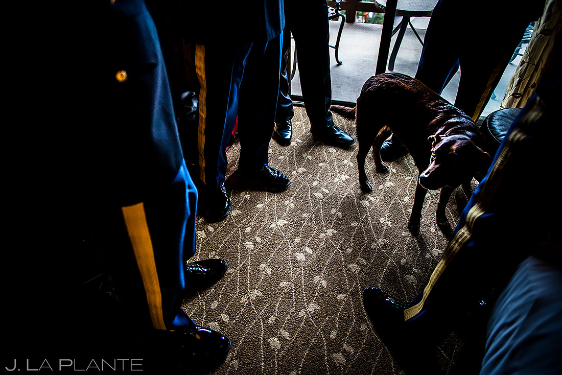 Groomsmen Hanging Out with Dog | Colorado Springs Wedding Photographer | J. La Plante Photo