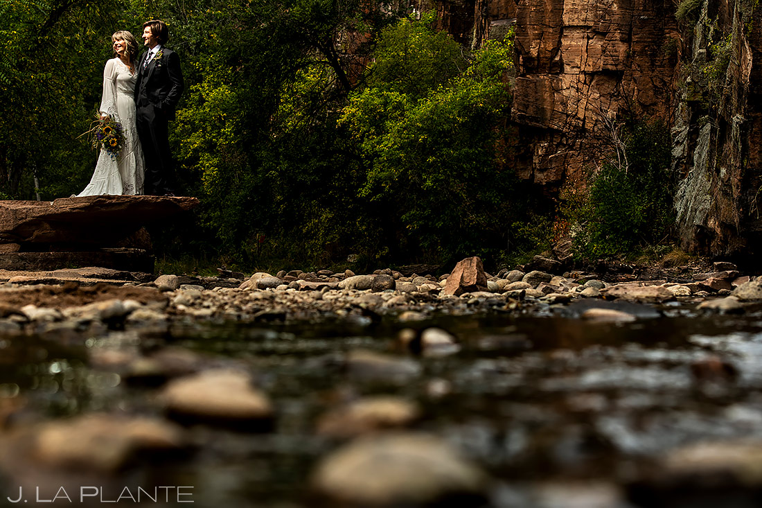 Bride and Groom by River | Lyons Wedding | Boulder Wedding Photographer | J. La Plante Photo