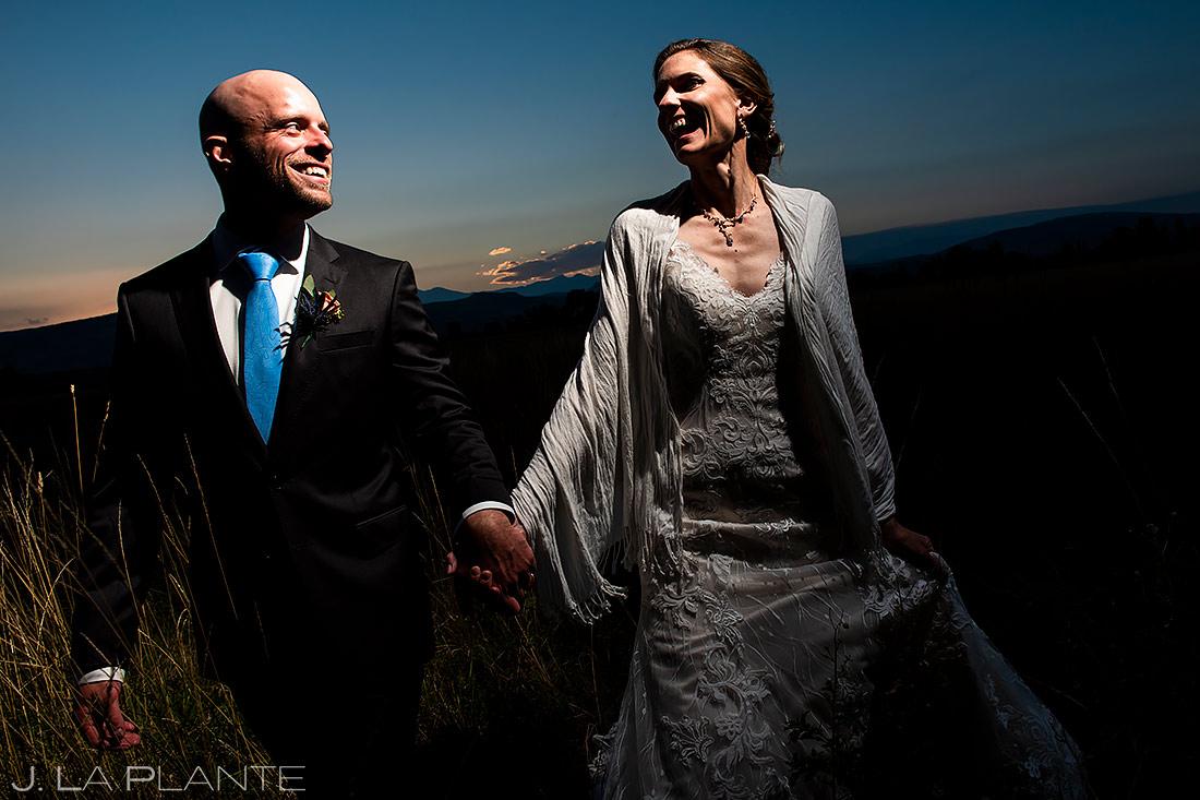 Bride and Groom Sunset Photo   Shupe Homestead Wedding   Boulder Wedding Photographer   J. La Plante Photo