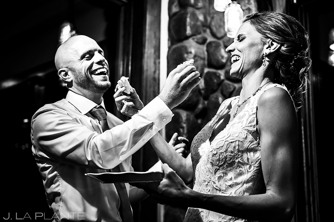 Bride and Groom Cake Cutting   Shupe Homestead Wedding   Boulder Wedding Photographer   J. La Plante Photo
