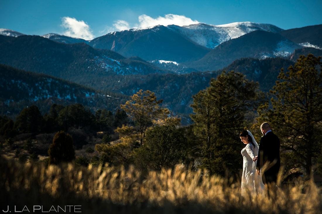 Bride and Groom Mountain Portrait | Cheyenne Mountain Resort Wedding | Colorado Springs Wedding Photographer | J. La Plante Photo