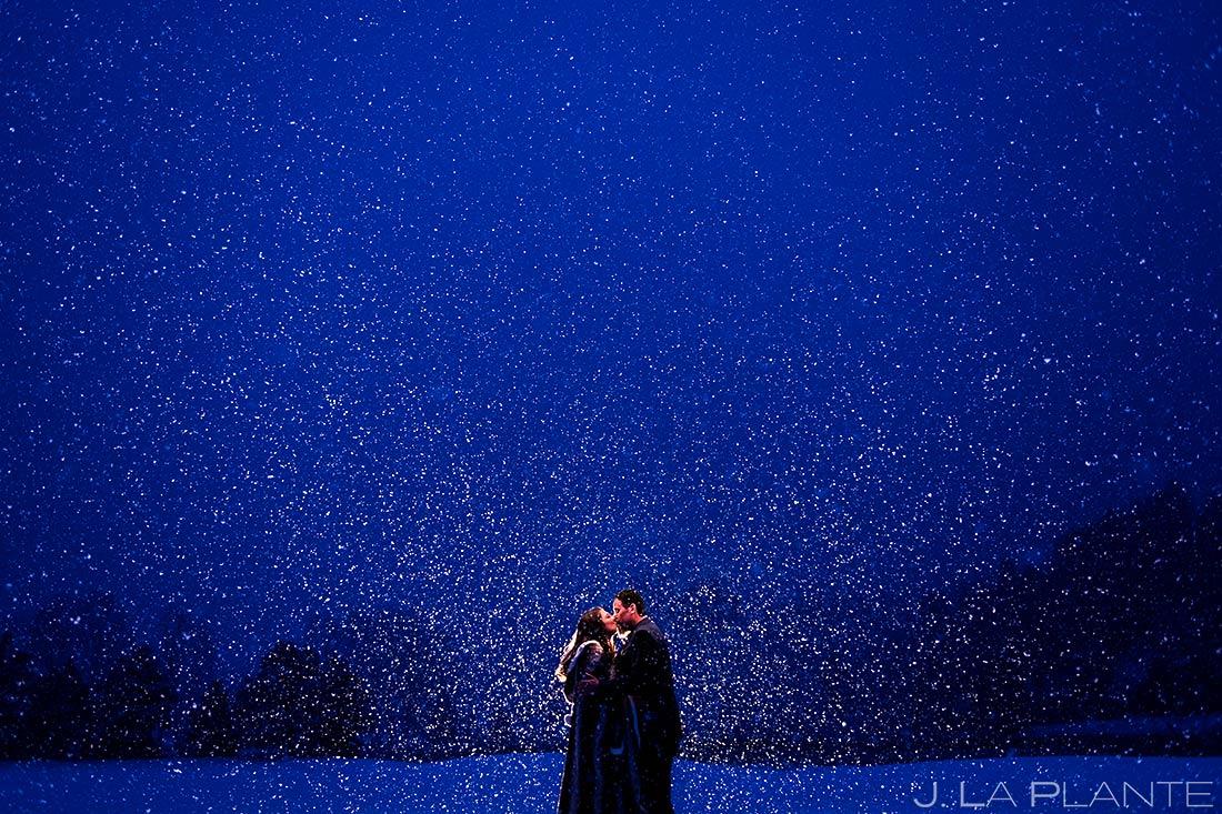 Bride and Groom in the Snow | Evergreen Lake House Wedding | Evergreen Wedding Photographer | J. La Plante Photo