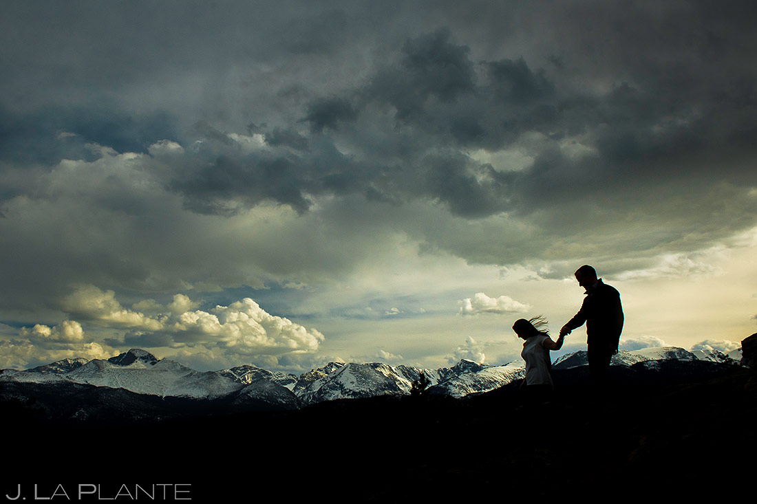 Bride and Groom Silhouette | Rocky Mountain National Park Engagement | Estes Park Wedding Photographer | J. La Plante Photo
