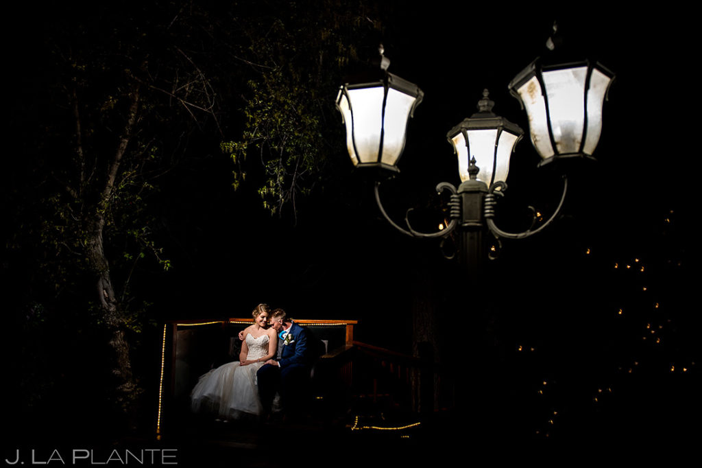 Bride and Groom Under Street Lamp | Wedgewood on Boulder Creek Wedding | Boulder Wedding Photographer | J. La Plante Photo