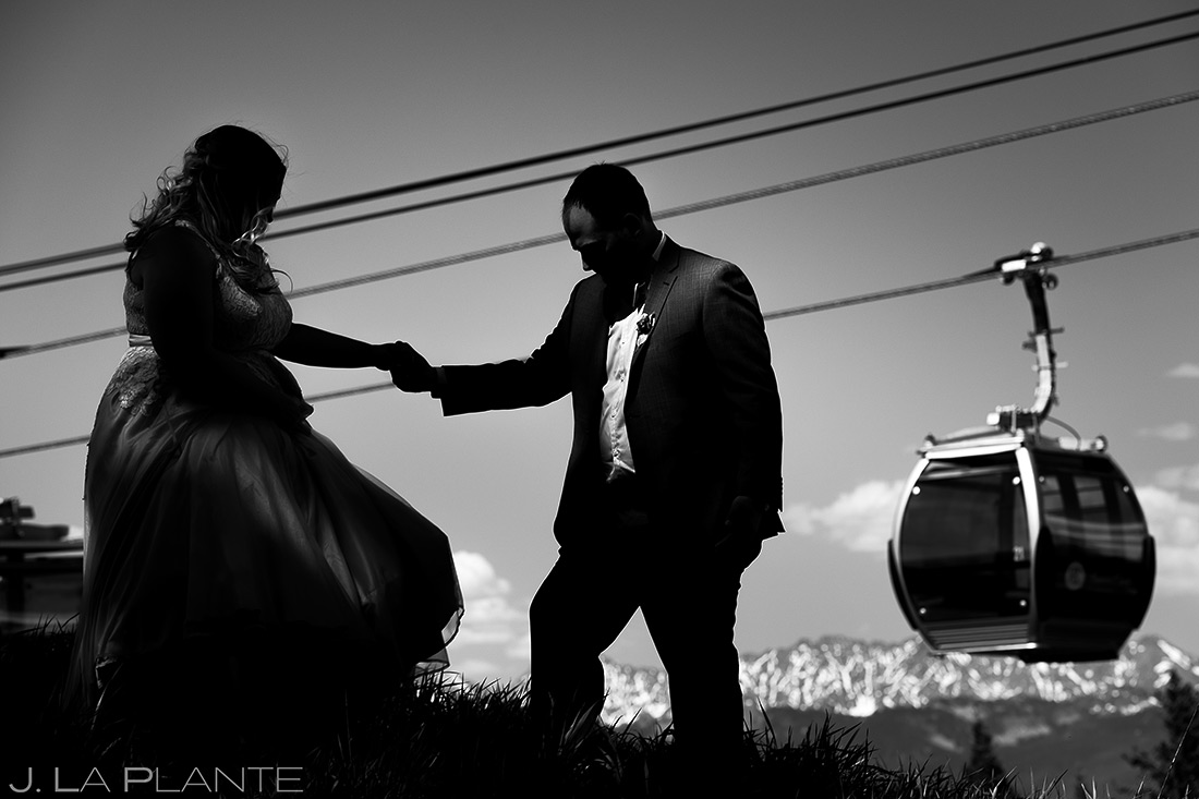 Bride and Groom on Top of Mountain | Beaver Creek Lodge Wedding | Beaver Creek Wedding Photographer | J. La Plante Photo
