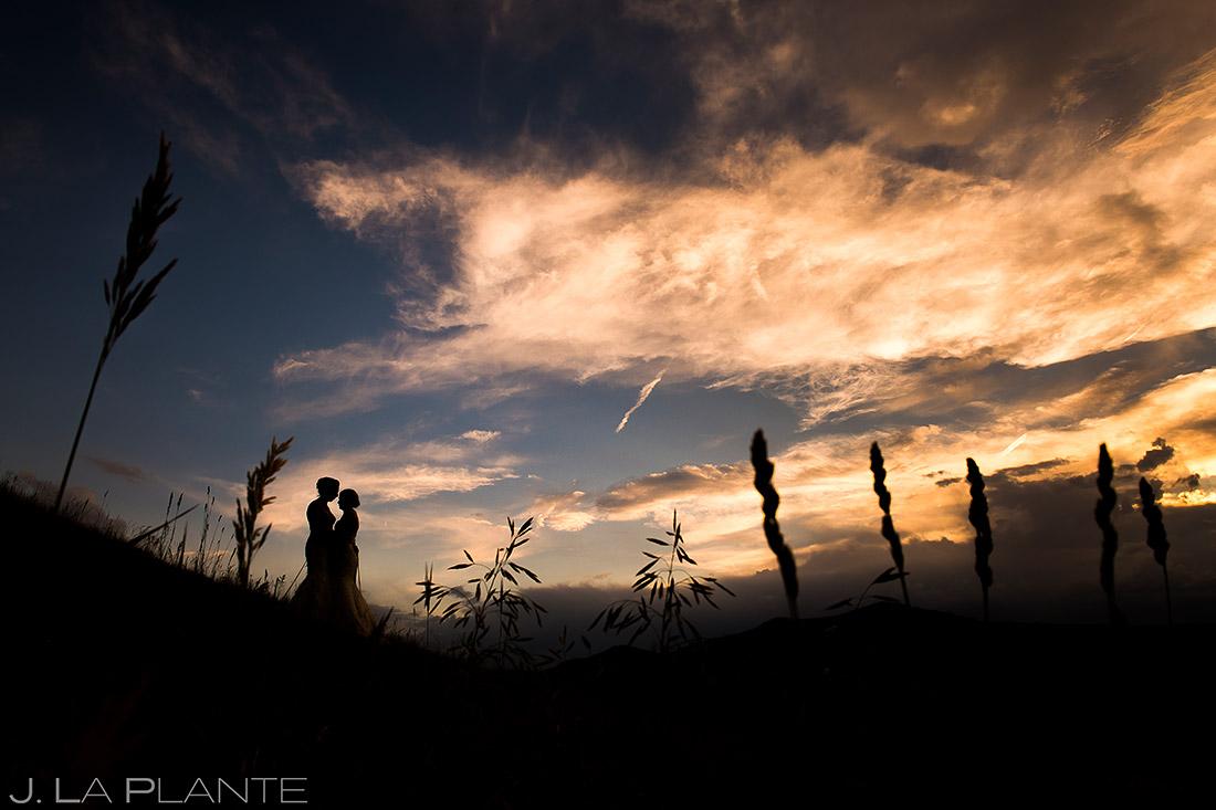 Bride and Bride Sunset Photo | Steamboat Grand Wedding | Steamboat Springs Wedding Photographer | J. La Plante Photo