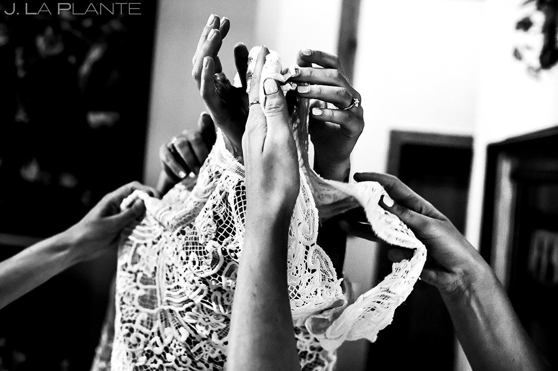 Bride Getting Into Dress | Camp Hale Wedding | Vail Wedding Photographer | J. La Plante Photo