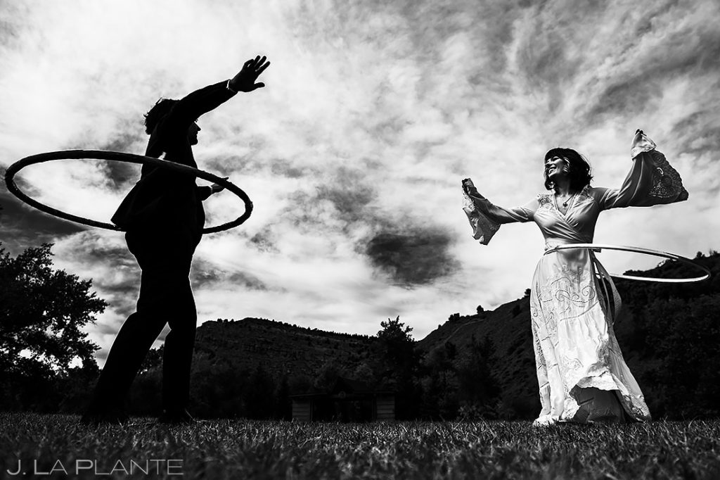 Bride and Groom Hula Hooping | Planet Bluegrass Wedding | Boulder Wedding Photographer | J. La Plante Photo