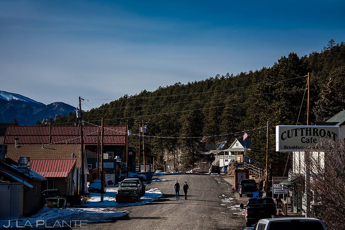 Groom and Groom Walking Down Street | Bailey Colorado Engagement | Colorado Wedding Photographers | J. La Plante Photo