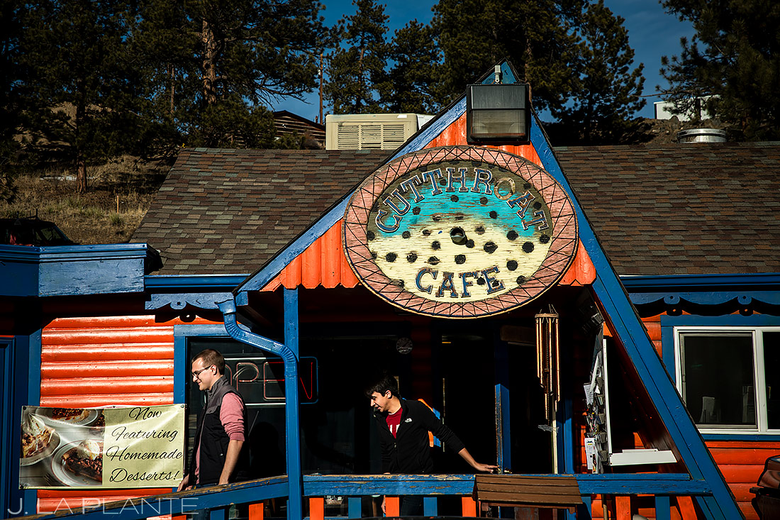 Groom and Groom at Coffee Shop | Bailey Colorado Engagement | Colorado Wedding Photographers | J. La Plante Photo