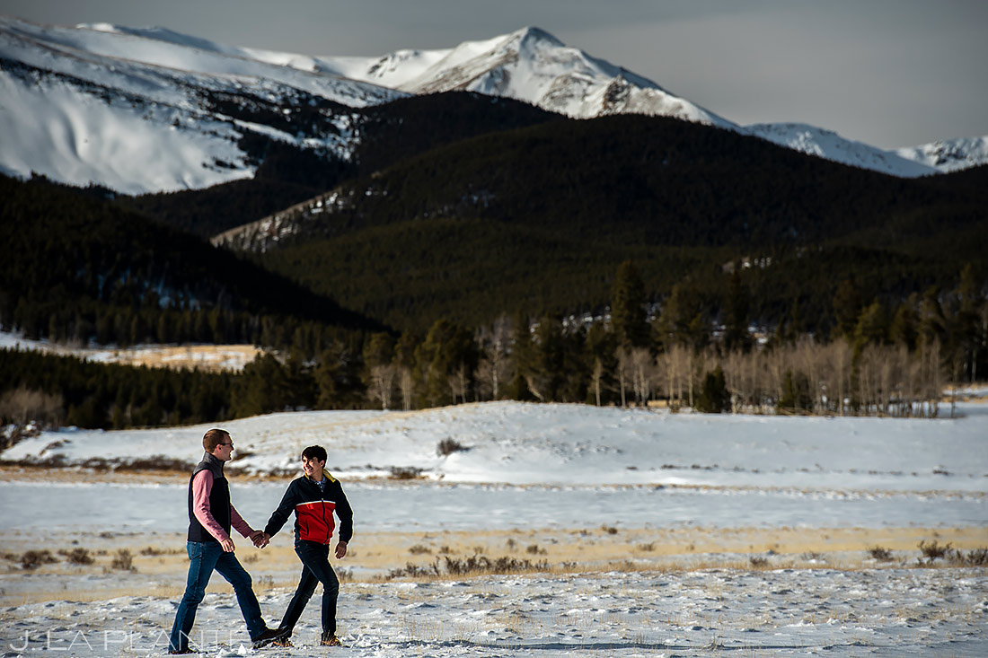 Groom and Groom Hiking in Mountains | Kenosha Pass Engagement | Colorado Wedding Photographers | J. La Plante Photo