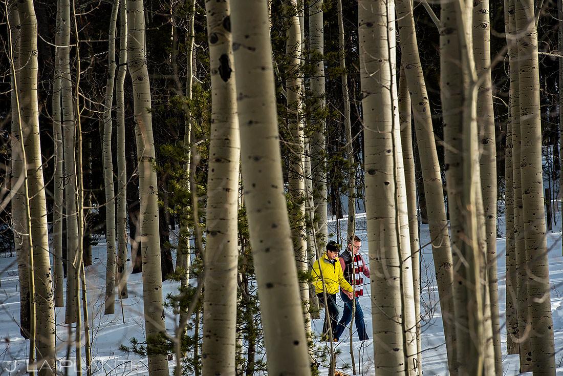 Groom and Groom Hiking in Aspens | Kenosha Pass Engagement | Colorado Wedding Photographers | J. La Plante Photo