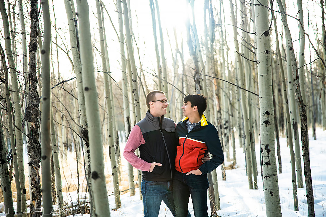 Groom and Groom in Aspen Grove | Colorado Pre Wedding Photo Session | Colorado Wedding Photographers | J. La Plante Photo
