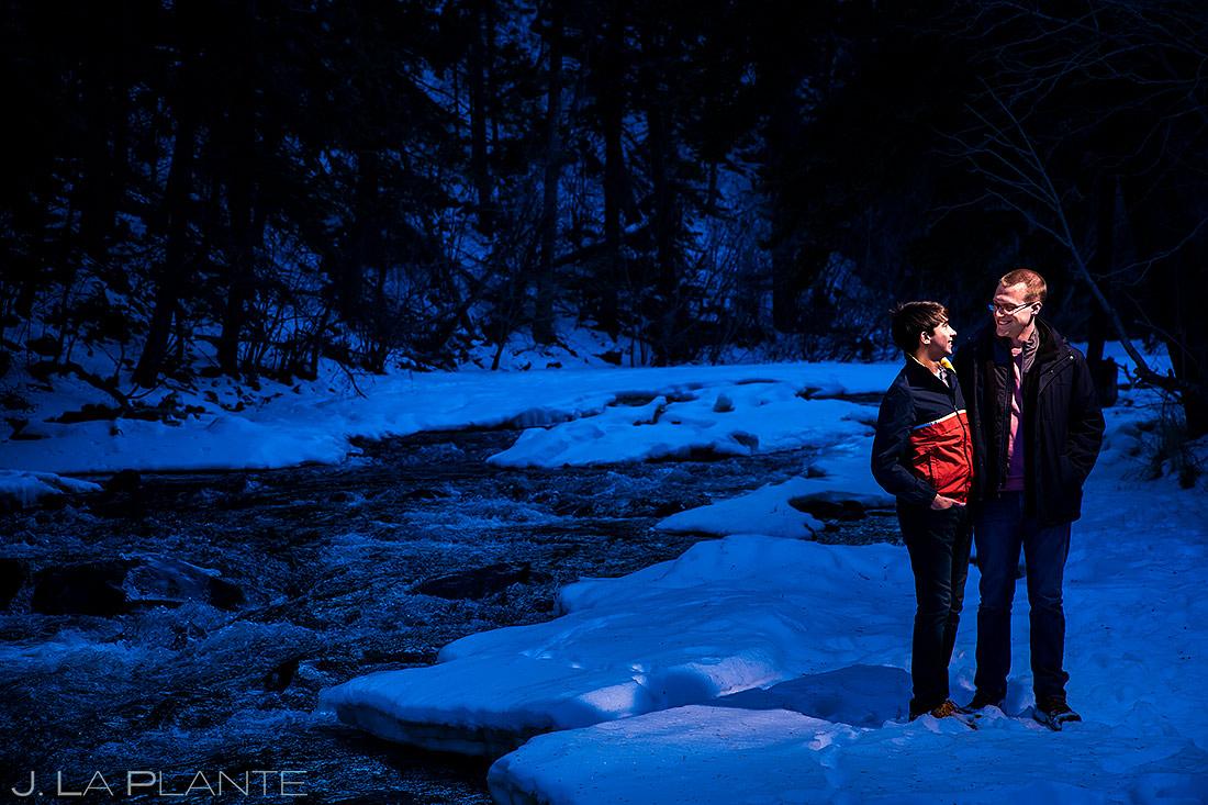 Groom and Groom by River | Colorado Pre Wedding Photo Session | Colorado Wedding Photographers | J. La Plante Photo