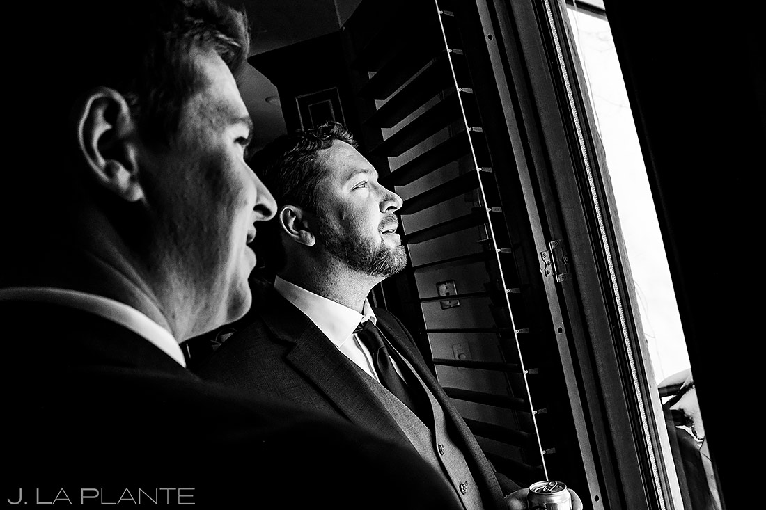 Groom Drinking With Brother   Beaver Creek Wedding   Beaver Creek Wedding Photographer   J. La Plante Photo