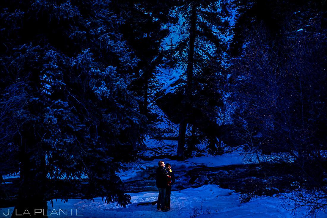 Groom and Groom by River | Kenosha Pass Engagement | Colorado Wedding Photographers | J. La Plante Photo