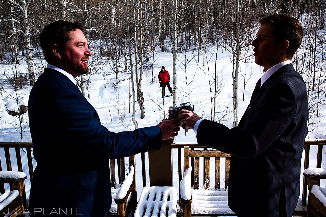 Groom Drinking With Brother   Sonnenalp Club Wedding   Beaver Creek Wedding Photographer   J. La Plante Photo