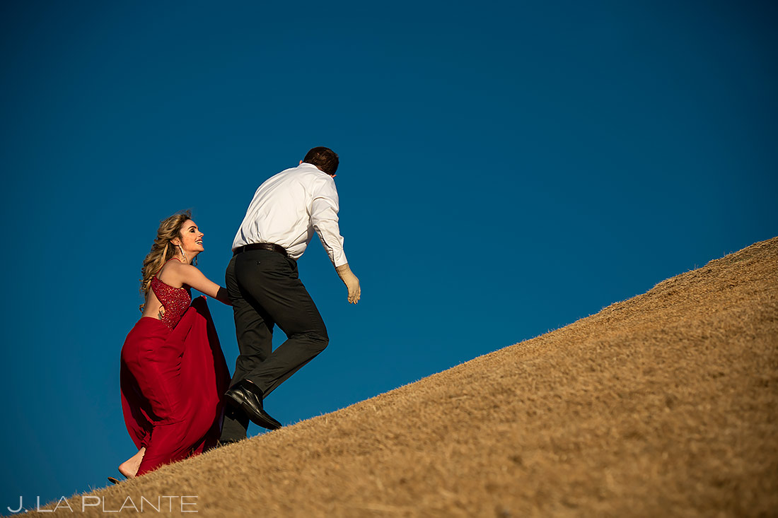Bride and Groom Walking in Park | Loveland Engagement | Colorado Wedding Photographers | J. La Plante Photo