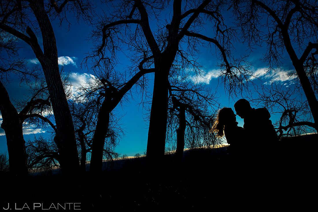 Bride and Groom Silhouette | Loveland Engagement | Colorado Wedding Photographers | J. La Plante Photo