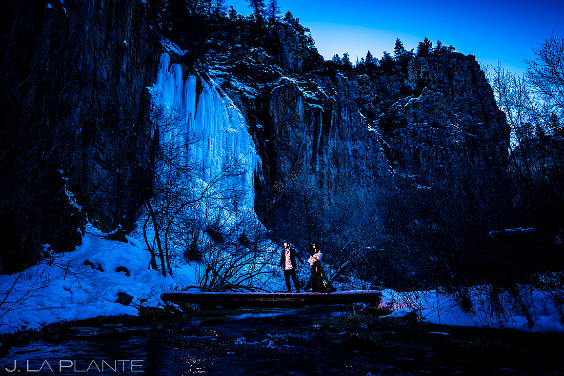 Bride and Groom on Bridge | Rifle Falls Engagement | Colorado Wedding Photographers | J. La Plante Photo