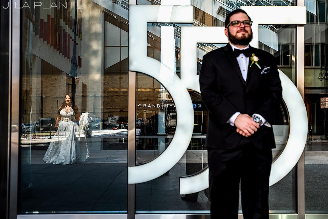 Bride and Groom First Look | Downtown Denver Wedding | Denver Wedding Photographer | J. La Plante Photo