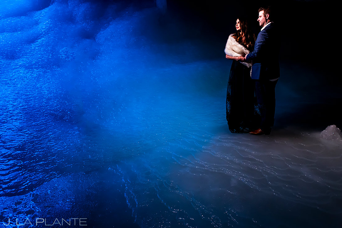 Bride and Groom in Ice Cave | Rifle Falls Engagement | Colorado Wedding Photographers | J. La Plante Photo