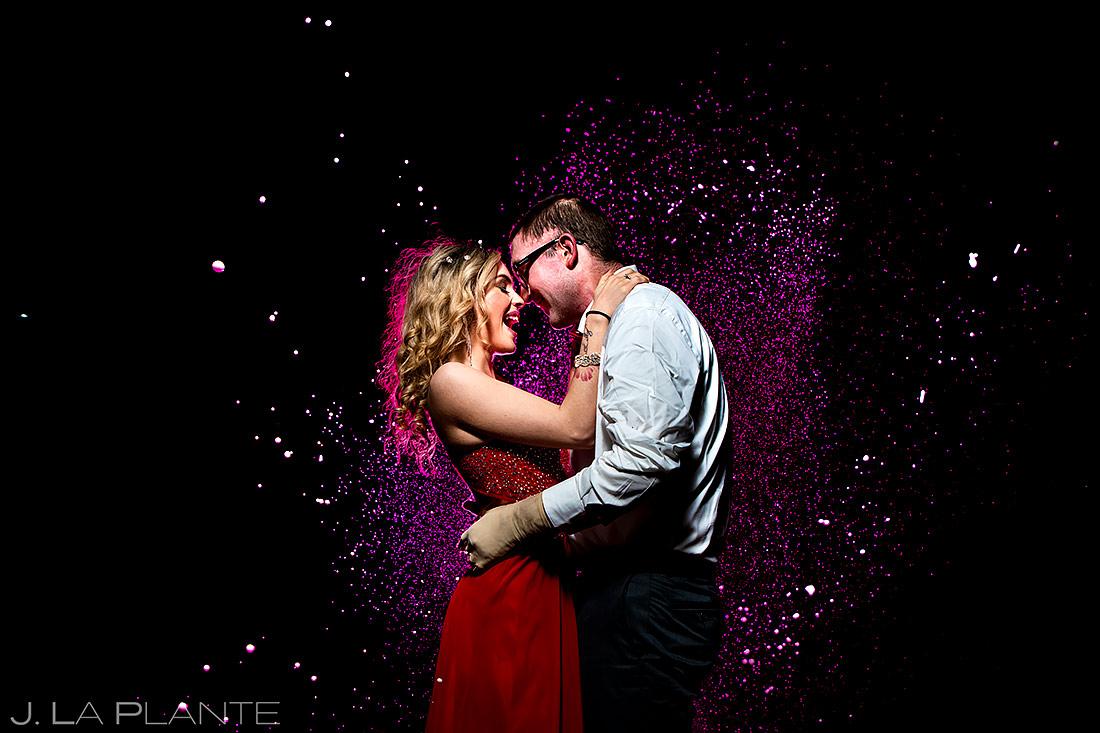 Bride and Groom Spraying Champagne | Loveland Engagement | Colorado Wedding Photographers | J. La Plante Photo