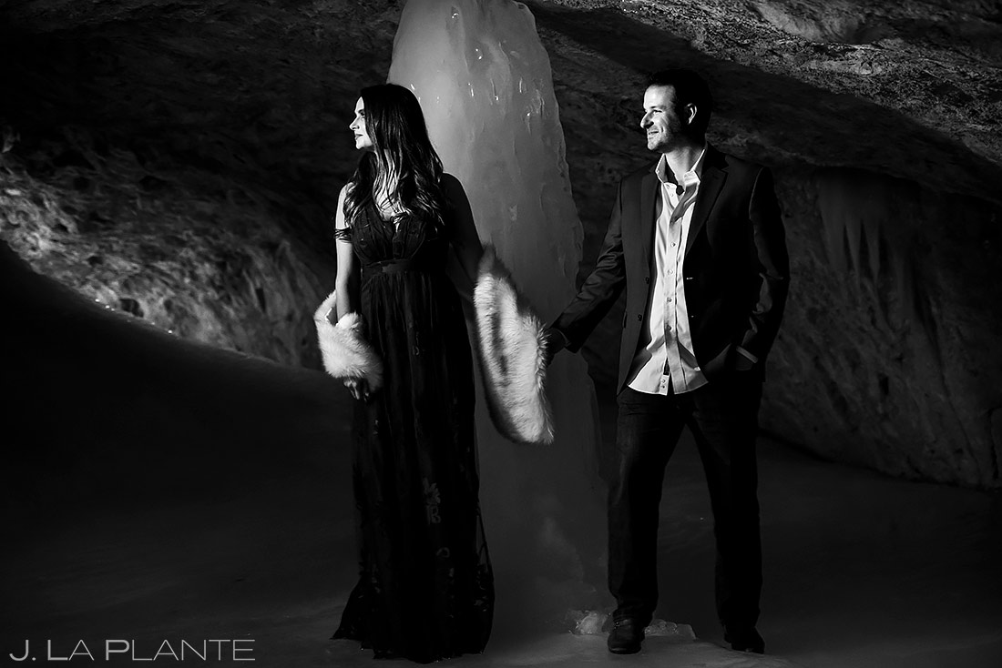 Bride and Groom in Ice Cave | Colorado Pre Wedding Photo Session | Colorado Wedding Photographers | J. La Plante Photo