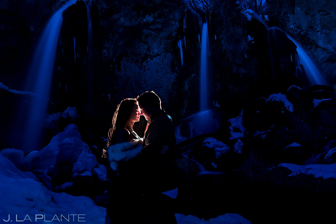 Bride and Groom by Waterfall | Rifle Falls Engagement | Colorado Wedding Photographers | J. La Plante Photo