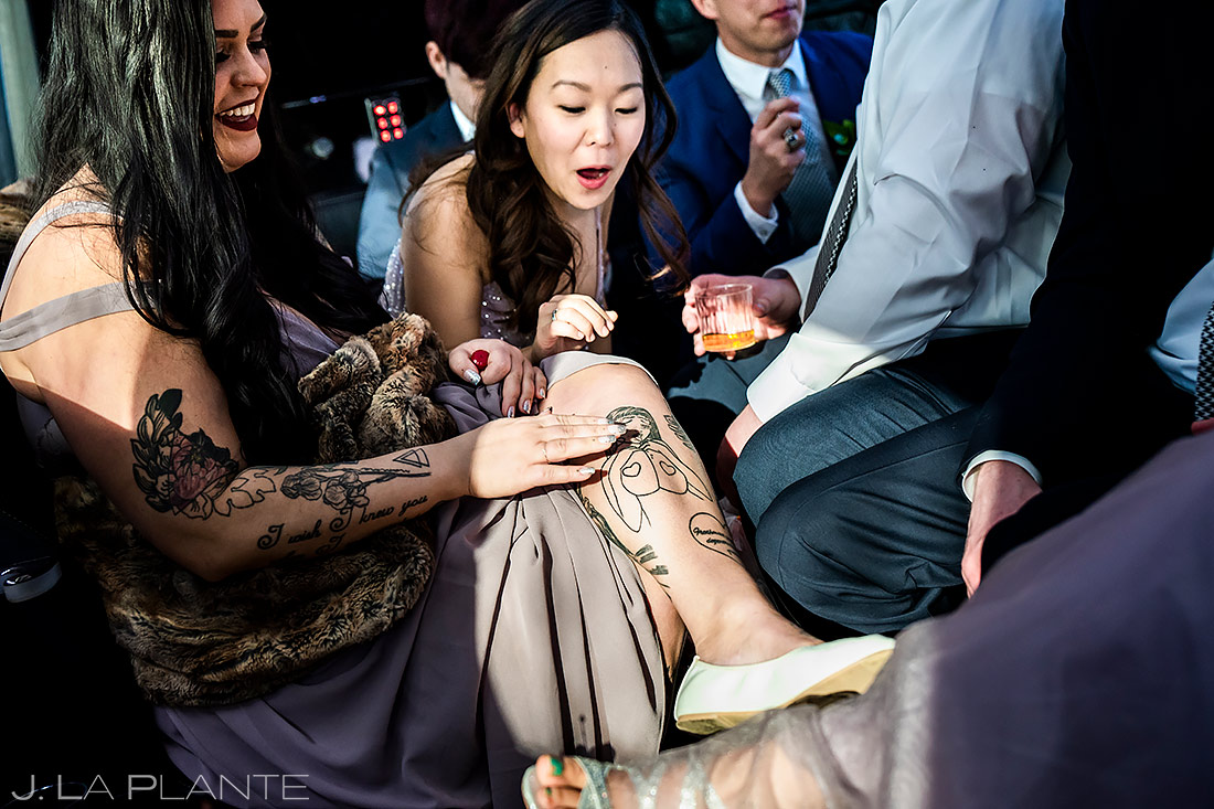 Wedding Party Riding in Limo | University of Maryland Wedding | Destination Wedding Photographer | J. La Plante Photo
