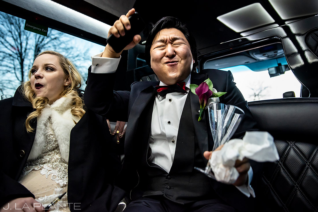 Groom Dancing in Limo | University of Maryland Wedding | Destination Wedding Photographer | J. La Plante Photo