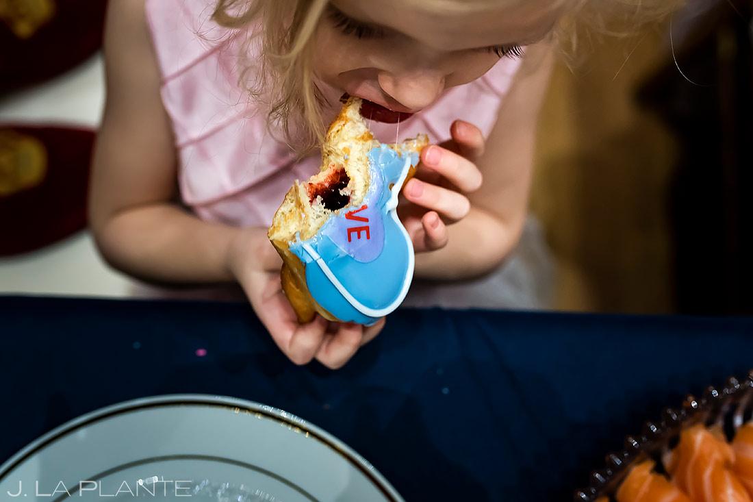 Flower Girl Eating Cookies | University of Maryland Wedding | Destination Wedding Photographer | J. La Plante Photo