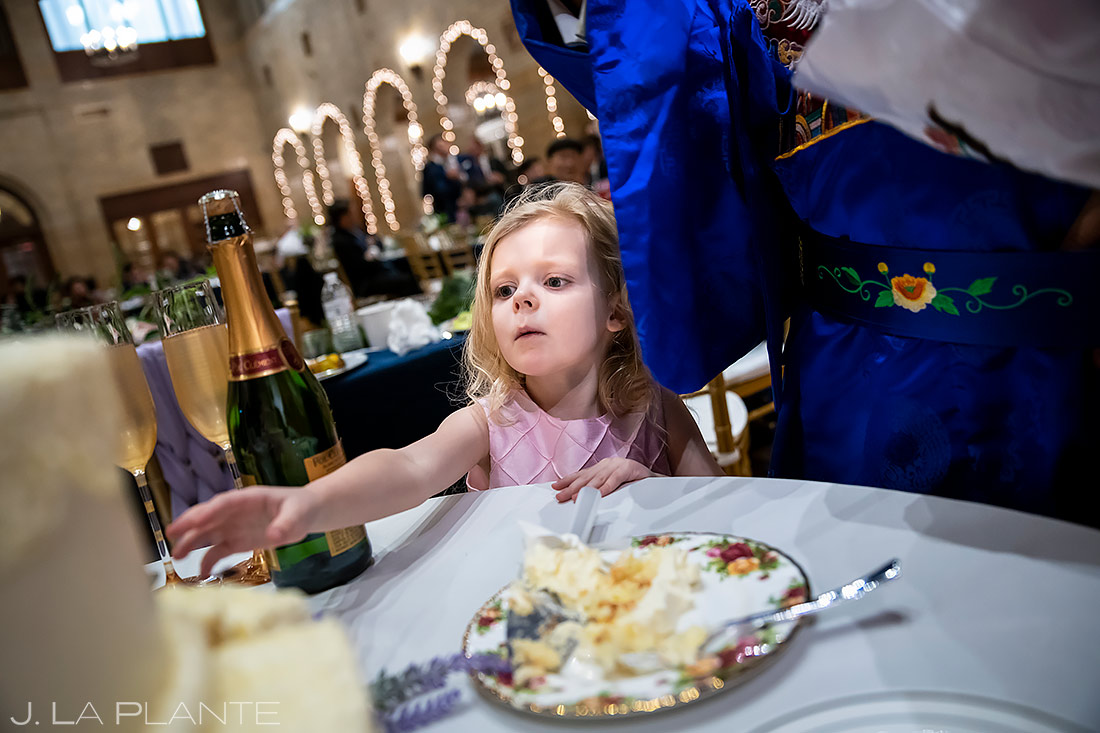 Flower Girl Stealing Cake | Washington DC Wedding | Destination Wedding Photographer | J. La Plante Photo