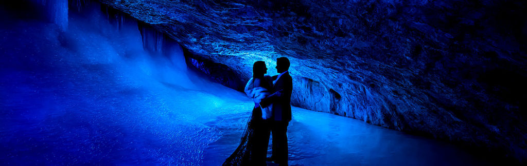 Bride and Groom in Ice Cave | Rifle Falls Engagement | Colorado Wedding Photographers | J. La Plante Photo