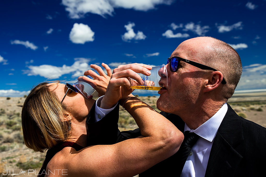 Bride and Groom Doing Shots | Utah Engagement | Destination Wedding Photographer | J. La Plante Photo