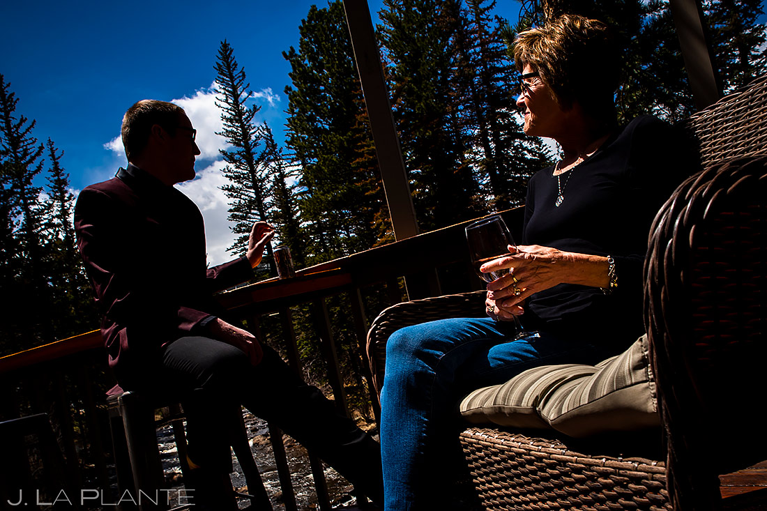 Groom Hanging Out with Mom | Stanley Hotel Wedding | Estes Park Wedding Photographer | J. La Plante Photo
