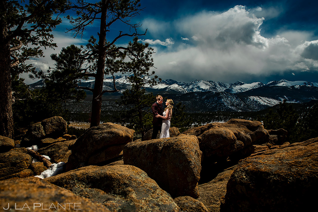 Bride and Groom in Rocky Mountain National Park | Stanley Hotel Wedding | Estes Park Wedding Photographer | J. La Plante Photo