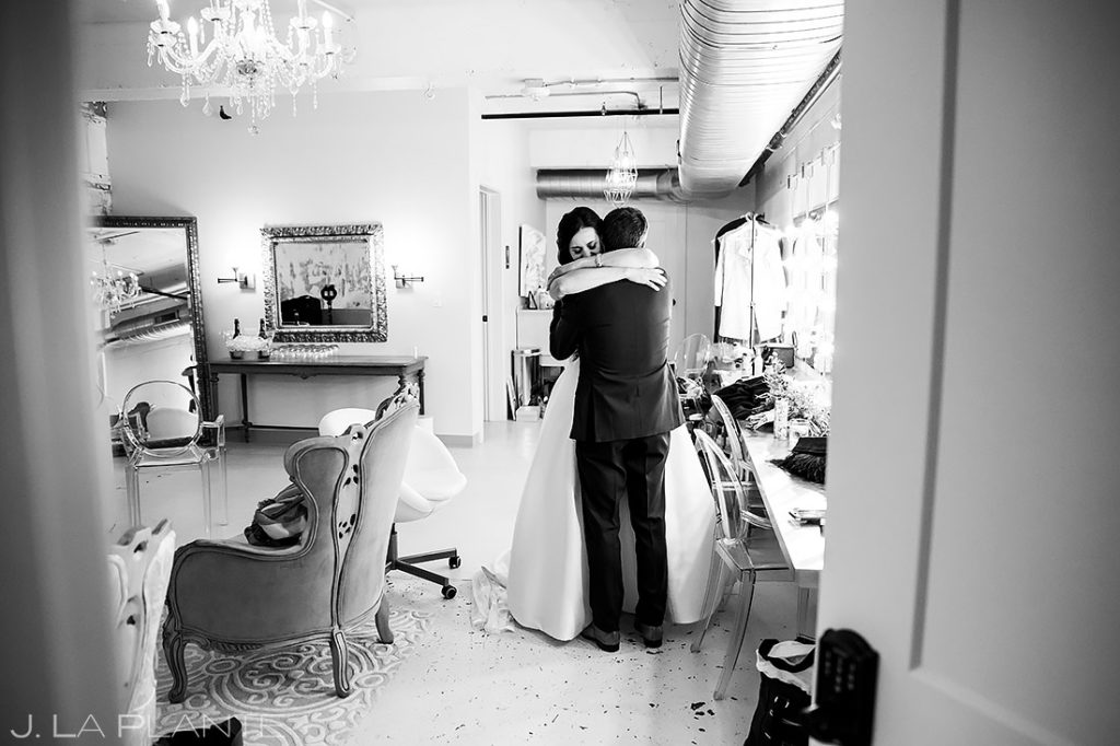 Bride and Groom Hugging After Ceremony | St Vrain Wedding | Boulder Wedding Photographer | J. La Plante Photo