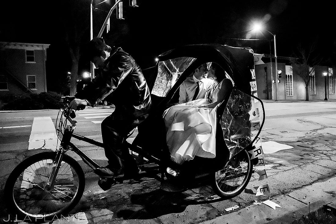 Bride and Groom Pedicab Send Off | St Vrain Wedding | Boulder Wedding Photographer | J. La Plante Photo