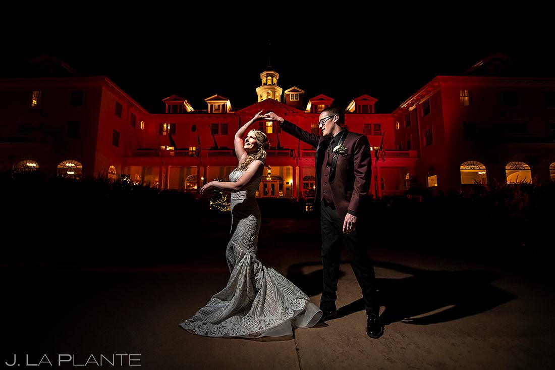 Bride and Groom Night Portrait | Stanley Hotel Wedding | Estes Park Wedding Photographer | J. La Plante Photo