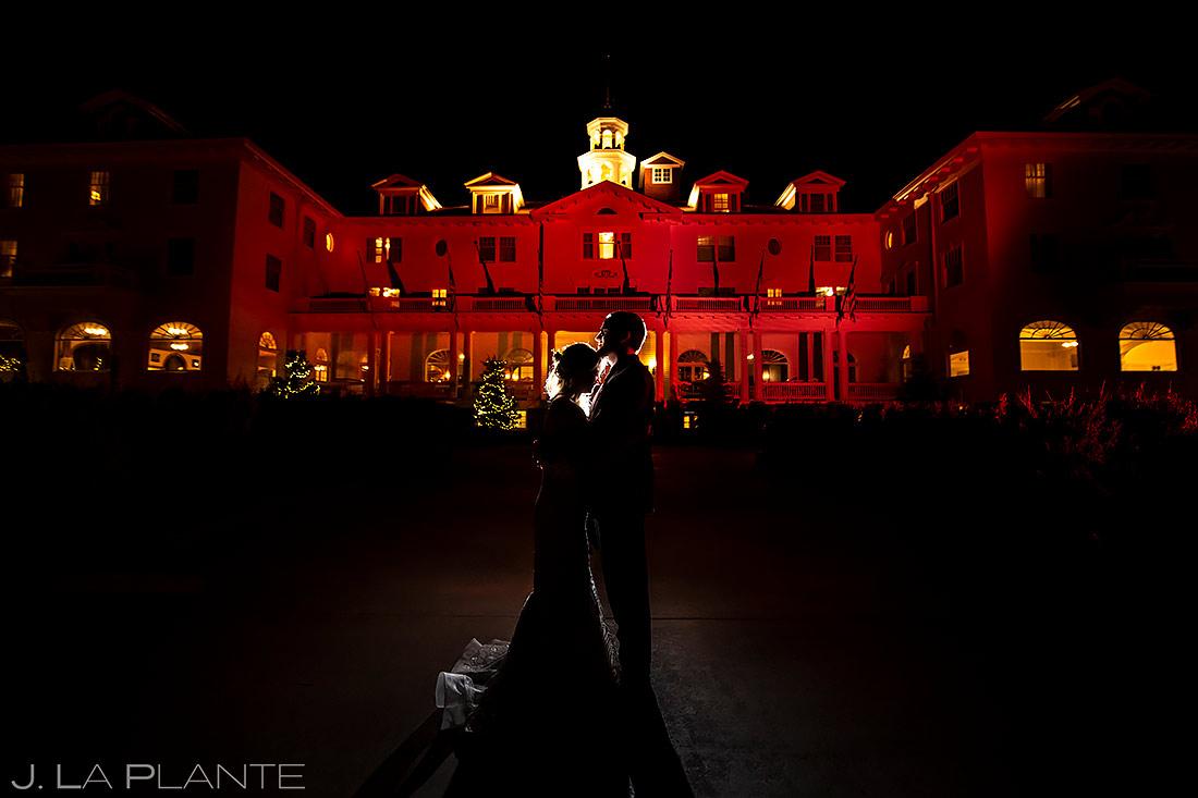 Bride and Groom Night Portrait | Estes Park Wedding | Estes Park Wedding Photographer | J. La Plante Photo